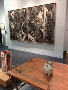Dramatic paper collage and charcoal work by Elaine de Kooning with two Picasso ceramics at Vivian Horan