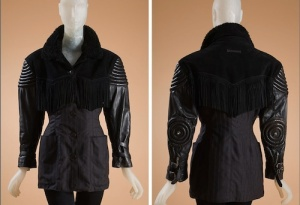 All the techniques rolled into one in Jean Paul Gaultier's 1987 creation of leather, fake fur, suede, and wool. Note the trapunto, elbow studs, fringe, and pin stripes. Source: FIT, gift of Anne Zartaian.
