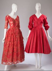 "Dior ""New Look"" (1950) (left) inspired Anne Fogarty to create a full-skirt dress for budget-conscious homemakers in 1954 (right)"