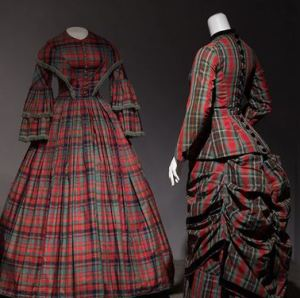 19th century passion for plaid in silk dress (1852) and wool bustle dress (1880).
