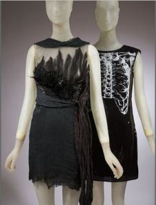 Rodarte's California condor-inspired evening dress (2010) (left) next to their chest X-ray dress for Target (2011) (right)