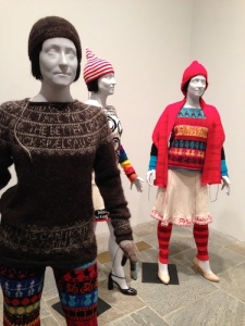 Knits with commentary by Lisa Anne Auerbach, including We Are All Pussy Riot