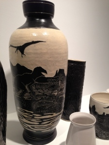 Pterosaur and giant theropod are featured in Shio Kusaka's third-floor ceramics display