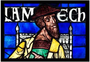 Lamech (detail), from the Ancestors of Christ Windows, Canterbury Cathedral, England, 1178–80. Images © Robert Greshoff Photography, courtesy Dean and Chapter of Canterbury