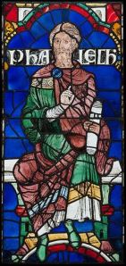 Phalech, one of Noah's descendants, one of Canterbury's original 86 stained-glass panels (1178-1780)