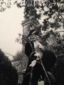Editta poses for Bill  in embroidered frock coat and breeches  in front of St. Paul's Chapel, the oldest church building (1766) in Manhattan