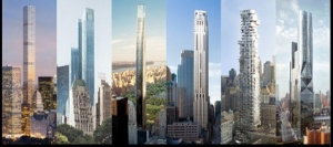 Stars of the show, left to right: 432 Park Avenue, One57, 111 West 57th, Four Seasons at 30 Park Place, 56 Leonard, Hudson Yards Tower D.