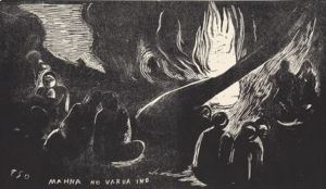 Mahna no varua ino (The Devil Speaks), state IV / IV, from the suite Noa Noa (Fragrant Scent). (1893–94). Woodcut from private collection. Courtesy: Galleri K, Oslo. © Reto Rodolfo Pedrini, Zurich