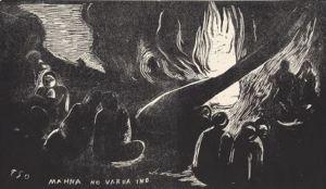 Mahna no varua ino (The Devil Speaks), state IV / IV, from the suite Noa Noa (Fragrant Scent). (1893–94). Woodcut from private collection. Courtesy: Galleri K, Oslo. © Reto Rodolfo Pedrini, Zurich