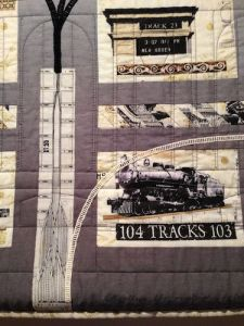 Kim Gimblette's quilt was one of the few to focus on the track diagrams and East Side Access