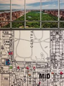 A photo of the future view from an apartment in One57, with the Midtown zoning map. Source: Skyscraper Museum