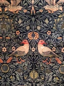 Detail of the large woolen Bird textile that Morris designed in 1878 for his home that was still being sold decades later.