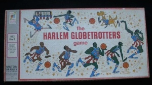 This 1971 Milton Bradley game , in the NYHS collection, celebrates the Harlem Globetrotters, who were a team  that started on Chicago's South Side
