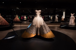 Clover Leaf Ball Gown – a 1953 silk faille, shantung, and black lace sculpture by Mr. James. Part of the Brooklyn Collection at The Met