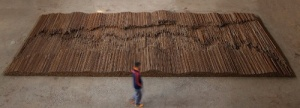 Straight (2008-2012) is made from 70 tons of rebar reclaimed from the Sichuan earthquake and hammered straight back into rods. © Ai Weiwei