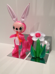 Inflatable Flower and Bunny, a cheeky take on minimalist work NYC galleries showcased in the 1970s