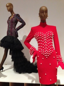Always fun to spoof Chanel's use of pearls (1988) and create a Ricci-inspired flamenco dress once modeled by Iman