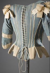 Unusual combination: Sleeves on a silk corset with whalebone stays, circa 1770
