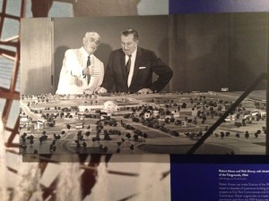 Robert Moses and Walt Disney look at the model of the 1964 World's Fair. From MTA Bridges & Tunnels archives