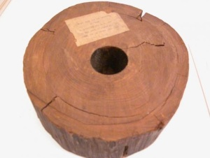 Section of water pipe, 1770-1804. The note says it was put into service in 1804 on Washington Street near Liberty Street and pulled out of the ground around 1911.