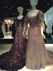 1902 dresses worn by Queen Alexandra to mourn Queen Victoria's death. French tulle, chiffon, and sequins.