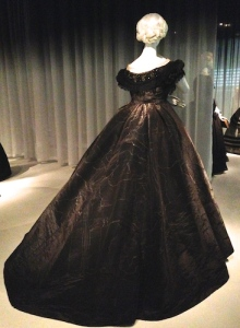 Dramatic 1861 British mourning attire in black silk moiré.