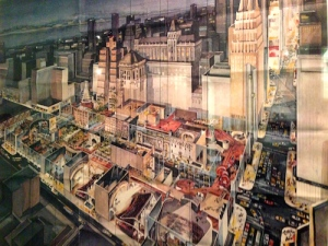 """Poster from the Schubert archives of """"The City at 42nd Street"""", the never-built 1979 mall-superblock plan"""