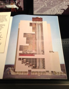 Cutaway drawing of the Portman/Marriott Marquis Hotel (1973-1985), which kept focus inward away from tawdry Times Square