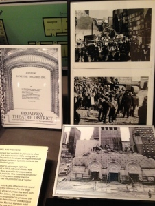 Save the Theaters study with 1982 photos of Joe Papp and others protesting the destruction of the Helen Hays and Morosco to build the  Portman. Courtesy: Lee Harris Pomeroy