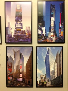 The skyscrapers that were finally built at Times Square, including the Times Towers of 1997 and 2004