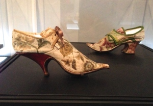 Fashionable, embellished pointy-toed 1690 French and 1720 British heels