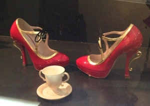 2008 Heels by Miu Miu next to a Wedgewood ice cream cup and saucer (1790-1800)