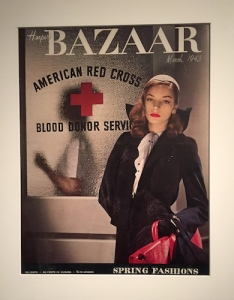 18-year-old Bacall poses as a Red Cross WWII nurse on Harpers Bazaar cover, March 1943. Cover photo: Louise Dahl Wolfe