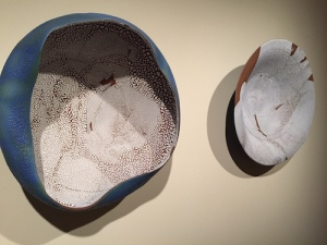 Biomorphic 2009 wall sculpture Blossom. Stoneware with crater and crawl glaze. Courtesy: New Hanover Library
