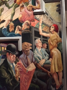 """City Activities with Subway"" portion of America Today based on his portrait sketches"