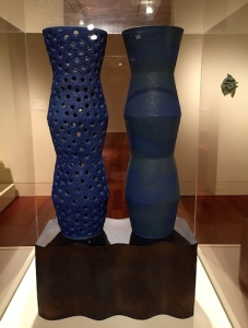 "Hiroshi's ""Twin Vase"", a monumental 2002 stoneware sculpture with crawl glaze"