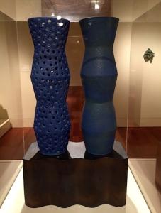 "Hiroshi's ""Twin Vase"", a monumental 2002 stoneware sculpture with crawl glaze"