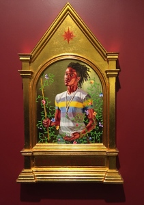 The Archangel Gabriel, Wiley's 22-karat gold leaf and oil on wood painting from his Iconic series