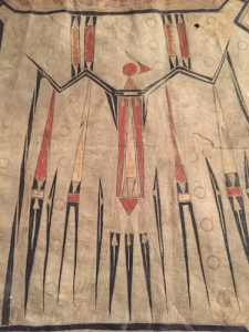 Central painting on large-scale Mythic Bird robe from the Illinois Confederacy, 1700-1740. Courtesy: Musée du quai Branly in Paris