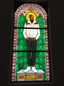 Kehinde Wiley's Saint Amelie in stained glass, 2014