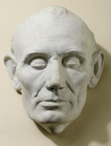 Copy of life cast done by Leonard Volk of LIncoln in 1860. Source: NYHS
