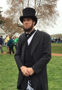 Lincoln reenactor visiting the 150th Anniversary of the Civil War Surrender, Appomattox Court House, April 2015