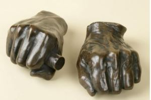Right Hand of Lincoln, a 1888 painted bronze cast by Leonard Volk, from original cast done in 1860 when Lincoln was nominated for President. Source: NYHS