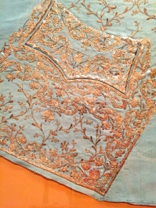 Waistcoat front panel from 1760s Europe; metal thread embroidery with sequins on silk.