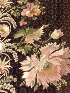 Close-up of embroidered velvet sample from 1800-1815, after which men preferred plain suits