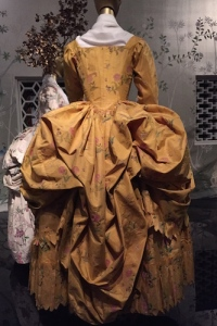 "Painted yellow silk taffeta American robe a la Polonaise, 1780-1785 Installation views of ""China: Through the Looking Glass"" May 7 - August 16, 2015 Metropolitan Museum of Art New York, New York"