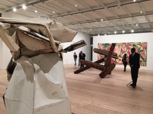 Gallery devoted to 1950s New York Abstract Expressionism with Chamberlain and diSuvero sculptures set against and Lee Krasner's 1957 Seasons