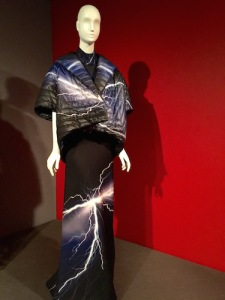 "Show opens with 2014 synthetic knit and nylon jacket and dress by Istanbul designer Arzu Kaprol ""Global Fashion Capitals"" Museum at FIT June 2 – November 14, 2015 New York, New York"