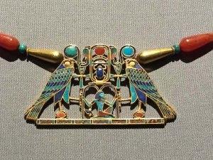 372-piece cloisonné pectoral of Princess Sithathoryunet. Gold, carnelian, lapis lazuli, turquoise, and garnet. 12th dynasty (1887-1878 B.C.).