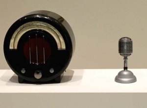 Stylish: 1932 Bakelite radio by Wells Coates and a 1939 Unidyne mic by Benjamin Baker.